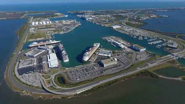 Aerial view of the Port of Canaveral
