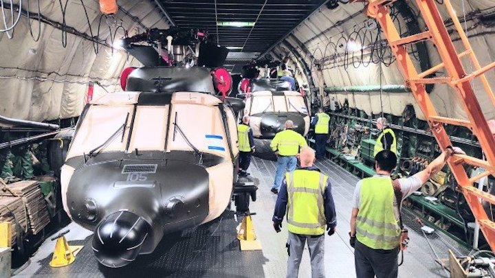 It took five hours to safely complete the loading of the helicopters using a winch for entry by the AN-124-100 nose ramp.